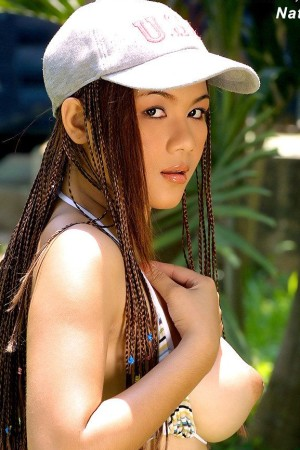 asian girl bikini baseball cap